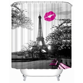 3D Red Lip and Eiffel Printed Polyester Bathroom Shower Curtain