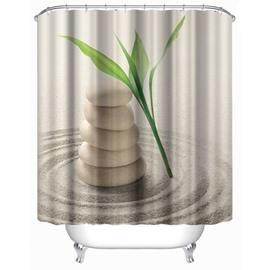 3D Bamboo Leaves and Stones Printed Polyester Bathroom Shower Curtain