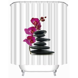 3D Orchid and Folded Stones Printed Polyester White Bathroom Shower Curtain
