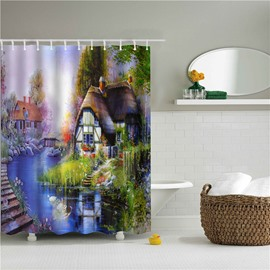3D Oil Painting House Printed Polyester Bathroom Shower Curtain