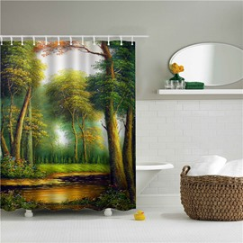 3D Tree Oil Painting Printed Polyester Bathroom Shower Curtain