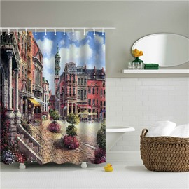 3D Oil Painting Old City Printed Polyester Bathroom Shower Curtain