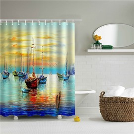 3D Oil Painting Boats in the River Printed Polyester Bathroom Shower Curtain