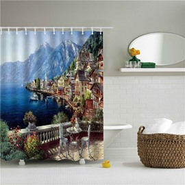 3D Oil Painting Water City Printed Polyester Bathroom Shower Curtain