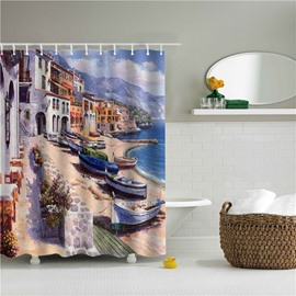 3D Oil Painting Seashore City Printed Polyester Bathroom Shower Curtain