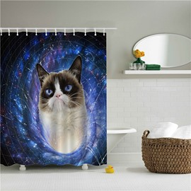 3D Cat in Galaxy Printed Polyester Bathroom Shower Curtain