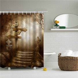 3D Crossroad Printed Polyester Bathroom Shower Curtain