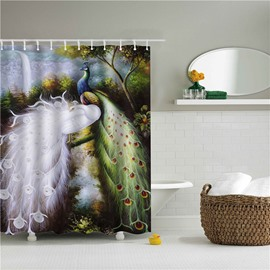 3D Peacocks Printed Polyester Bathroom Shower Curtain