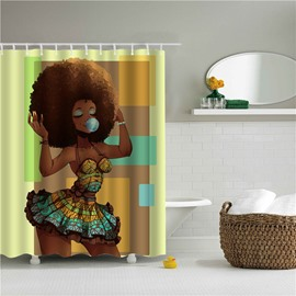 3D Afrocentric Fashion Girl Black Women Printed Polyester Bathroom Shower Curtain