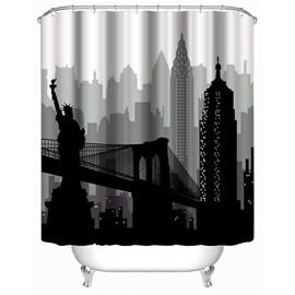 3D the Statue of Liberty and Bridge Printed Polyester Bathroom Shower Curtain