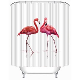 3D Pink Ostrich Printed Polyester Bathroom Shower Curtain