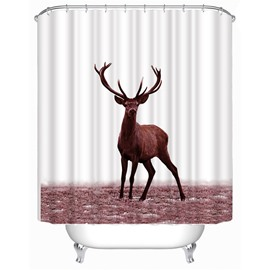 3D Deer Printed Polyester White Bathroom Shower Curtain
