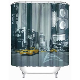 3D Yellow Car at Street Printed Polyester Gray Bathroom Shower Curtain
