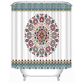 3D Geometric Flowers Printed Polyester White Bathroom Shower Curtain