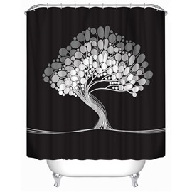 3D Curved Tree Printed Polyester Black Bathroom Shower Curtain