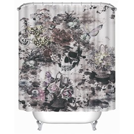3D Skull and Flowers Printed Polyester Gray Bathroom Shower Curtain