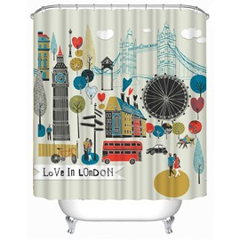 3D Cartoon London Printed Polyester Bathroom Shower Curtain
