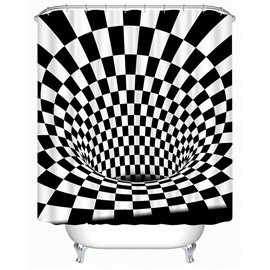 3D Dimensional Figures Printed Polyester Black and White Bathroom Shower Curtain