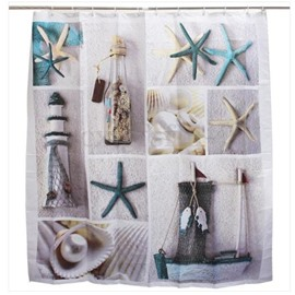 3D Starfish Printed Polyester Sea Style Bathroom Shower Curtain