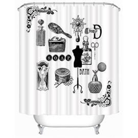 3D Bathroom Items Printed Polyester Bathroom Shower Curtain