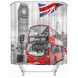 3D Red Bus and Big Ben Printed Polyester Bathroom Shower Curtain