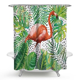 3D Waterproof Flamingos and Green Leaves Printed Polyester Shower Curtain