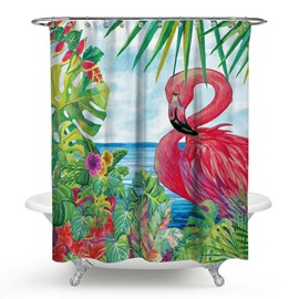 3D Waterproof Flamingo and Tropical Plants Printed Polyester Shower Curtain