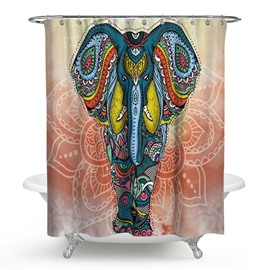 3D Waterproof Blue Elephant Printed Polyester Shower Curtain