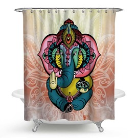 3D Waterproof Buddha Elephant Printed Polyester Shower Curtain