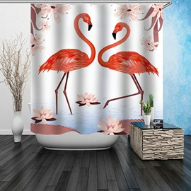 3D Waterproof Flamingos and Lotus Printed Polyester Shower Curtain