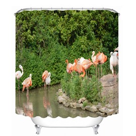 3D Waterproof Flamingos and Green Forest Printed Polyester Shower Curtain