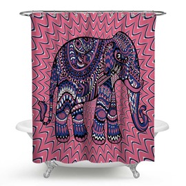 3D Waterproof Elephant Printed Bohemia Style Polyester Shower Curtain