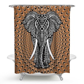 3D Waterproof Elephant Printed Polyester Brown Shower Curtain