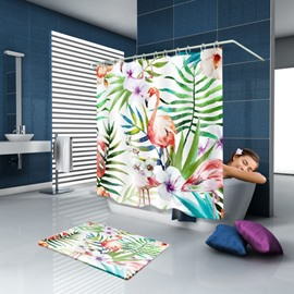 3D Waterproof Flamingo and Plants Printed Polyester Shower Curtain