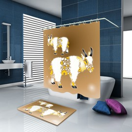 3D Waterproof Bull Printed Polyester Brown Shower Curtain