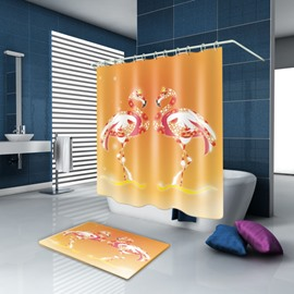 3D Waterproof Shining Flamingos Printed Polyester Orange Shower Curtain