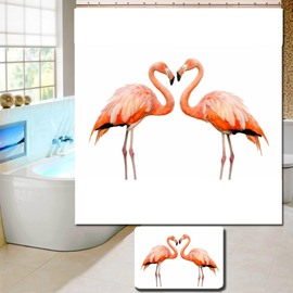 3D Waterproof Two Orange Flamingos Printed Polyester Shower Curtain