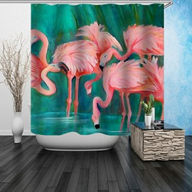 3D Waterproof Flamingos in Water Printed Polyester Shower Curtain
