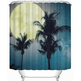 Moon and Palms Pattern Polyester Waterproof and Eco-friendly 3D Shower Curtain
