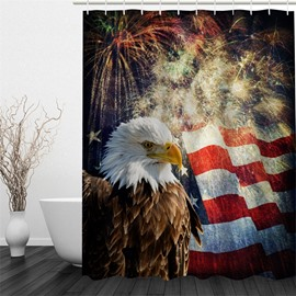 3D Eagle and Fireworks Polyester Waterproof and Eco-friendly Shower Curtain