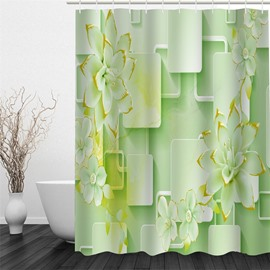Light Green Magnolia Pattern Polyester Waterproof and Eco-friendly 3D Shower Curtain