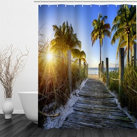 Sunrise and Path beside Sea Polyester Waterproof and Eco-friendly 3D Shower Curtain