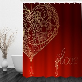 3D Red Background with Love and Flowers Printed Polyester Waterproof Eco-friendly Shower Curtain