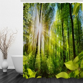 Green Forest and Sunshine Polyester Waterproof and Eco-friendly 3D Shower Curtain