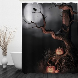 3D Ancient Tree in Moon Sky Polyester Waterproof and Eco-friendly Shower Curtain