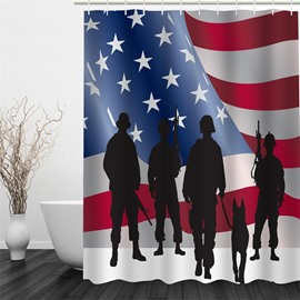 3D Ameriacan Flag and Soldiers Polyester Waterproof and Eco-friendly Shower Curtain