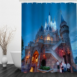 Castle in City Night Polyester Waterproof and Eco-friendly 3D Shower Curtain