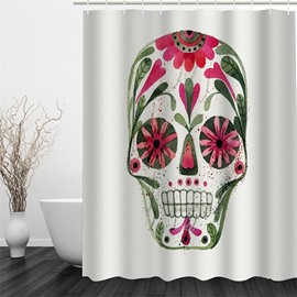 Skull with Flowers and Leaves Polyester Waterproof and Eco-friendly White 3D Shower Curtain