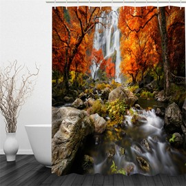 Waterfall and Trees Polyester Waterproof and Eco-friendly 3D Shower Curtain