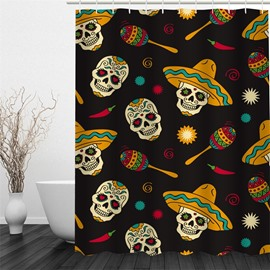 Skulls Polyester Waterproof and Eco-friendly Black 3D Shower Curtain
